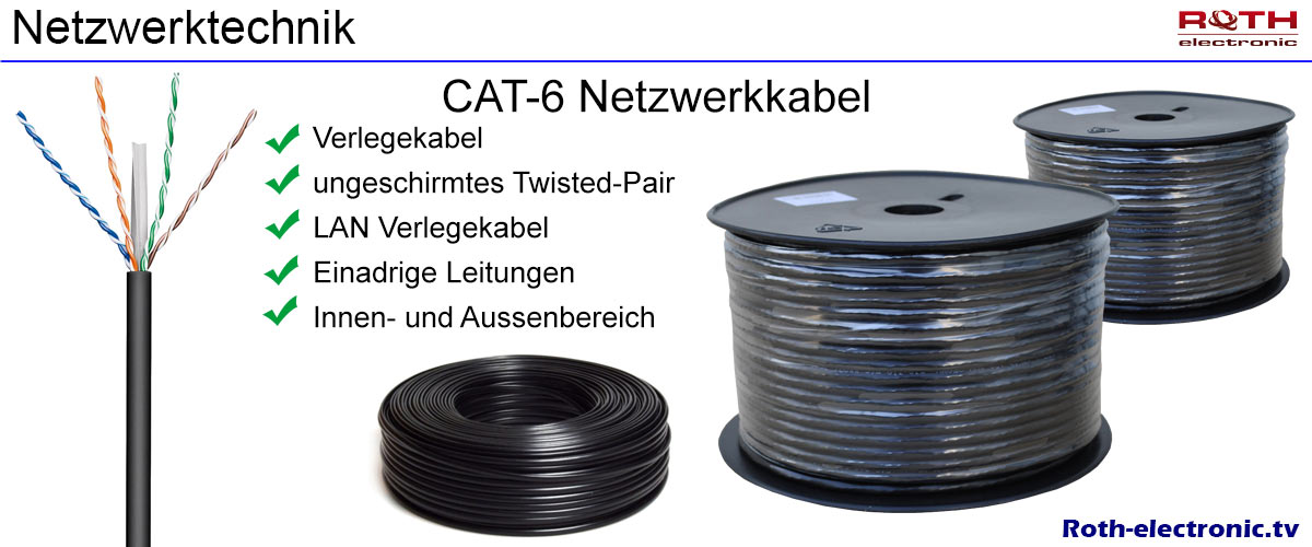 20m cat 6 netzwerk kabel verlegekabel lan gigabit. Black Bedroom Furniture Sets. Home Design Ideas