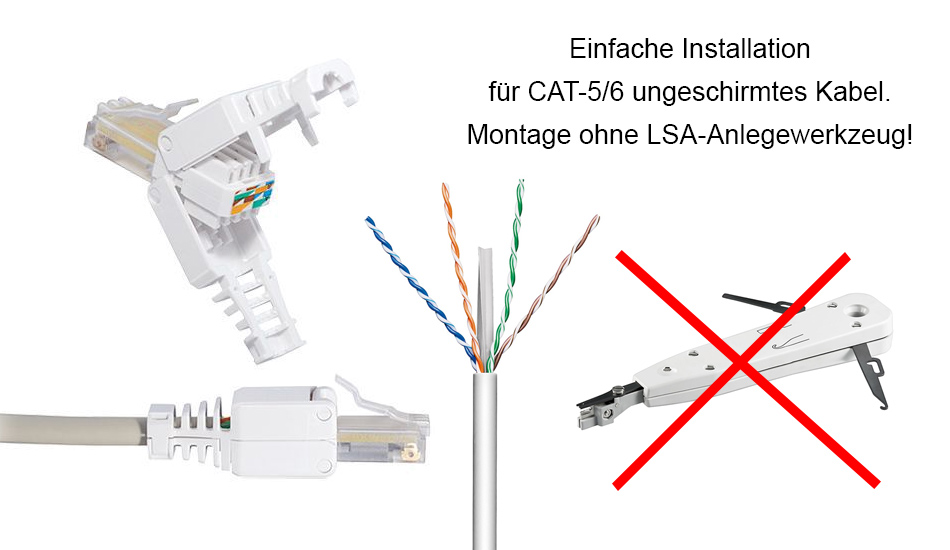 10x rj45 netzwerk stecker f r cat 5 6 verlege kabel utp ohne zange werkzeugfrei ebay. Black Bedroom Furniture Sets. Home Design Ideas
