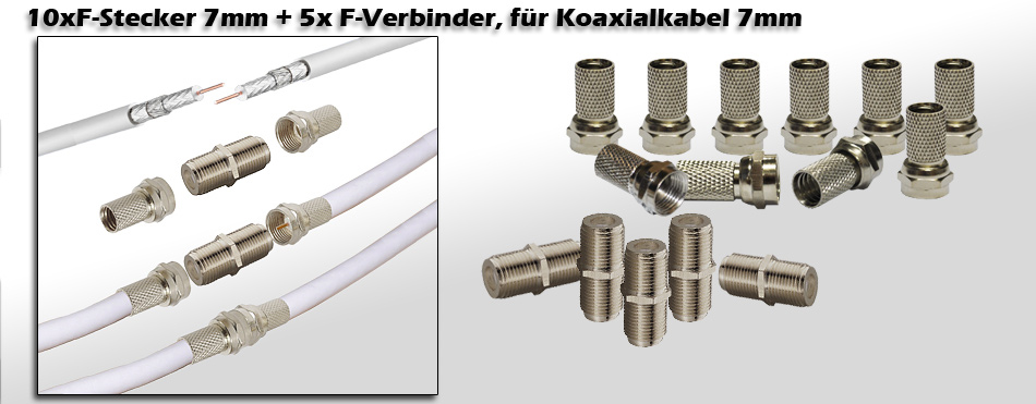 5 komplett kupplung 10x f stecker plus 5x f verbinder sat kabel verbinder set ebay. Black Bedroom Furniture Sets. Home Design Ideas